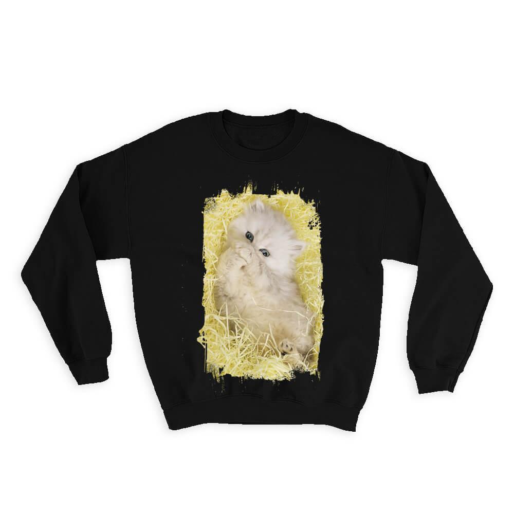 Cat : Gift Sweatshirt Cute Animal Kitten Funny Friend Birthday Haystack
