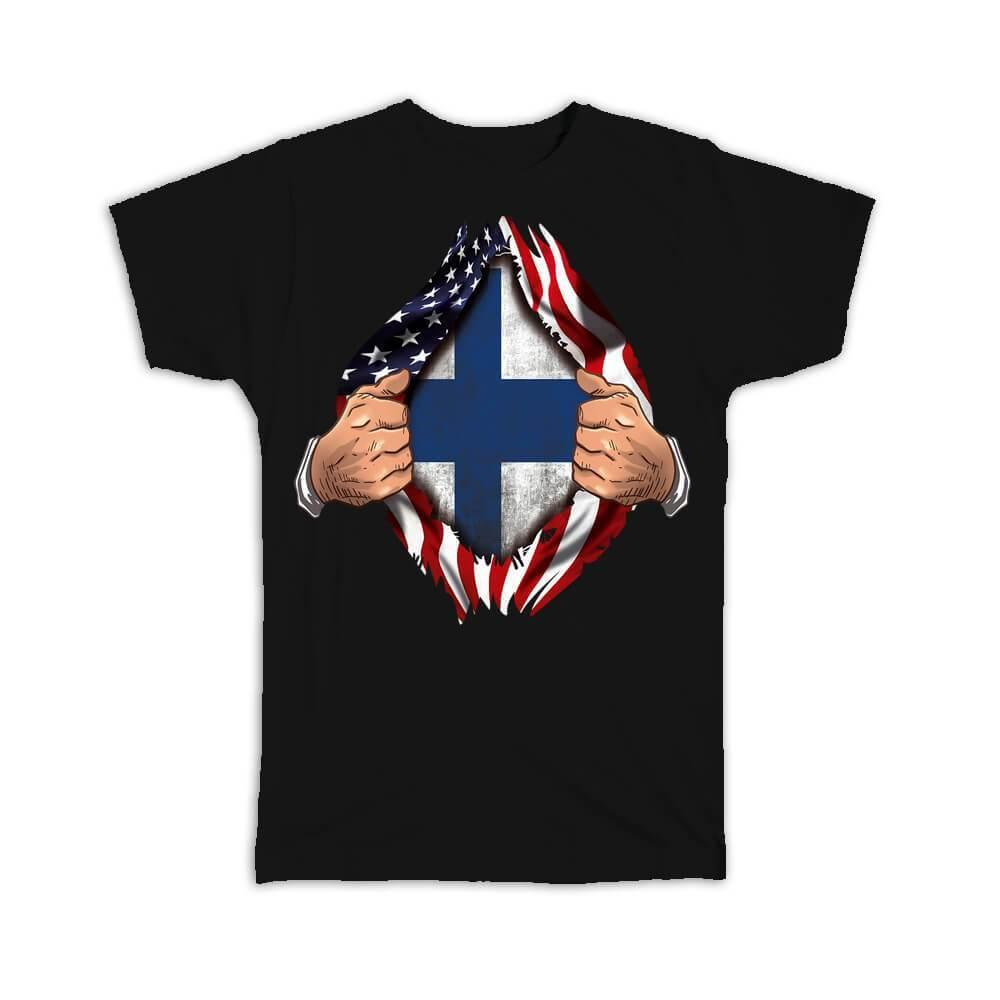 Finland : Gift T-Shirt Flag USA American Chest Finnish Expat Country
