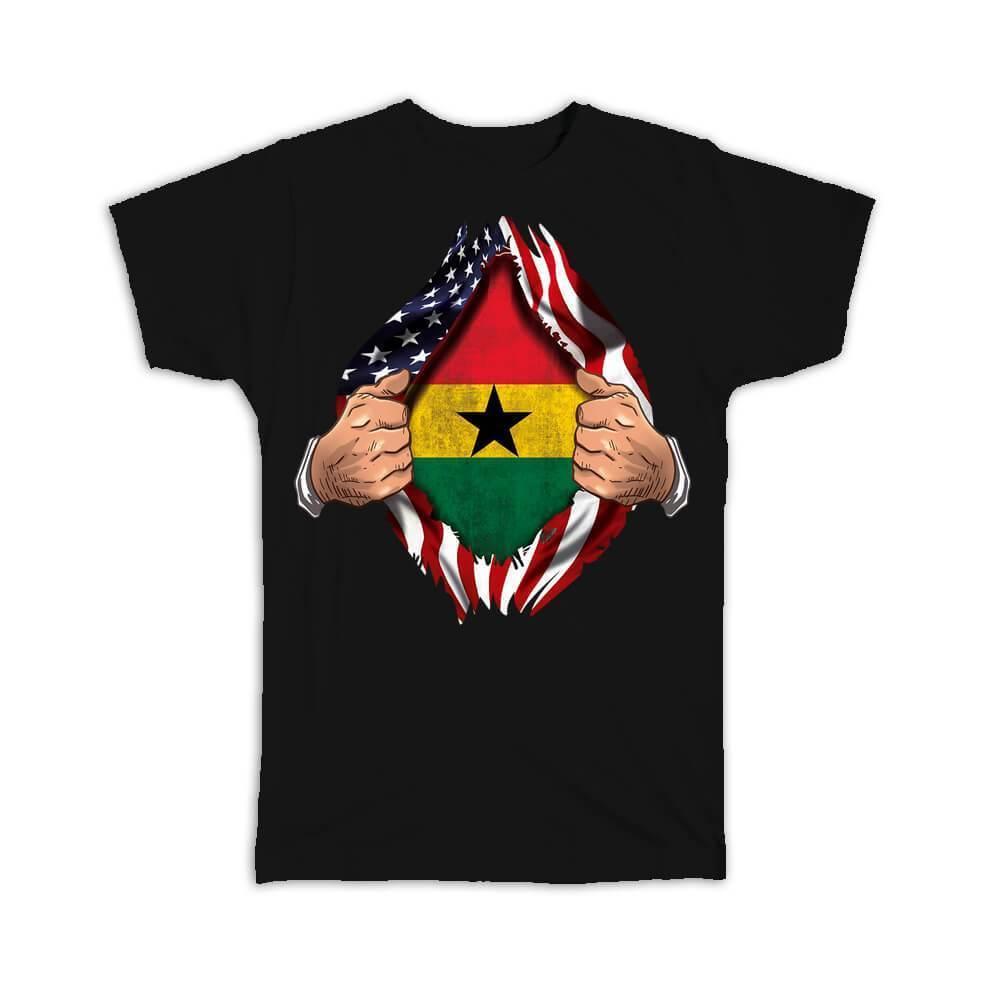 Ghana : Gift T-Shirt Flag USA American Chest Ghanaian Expat Country