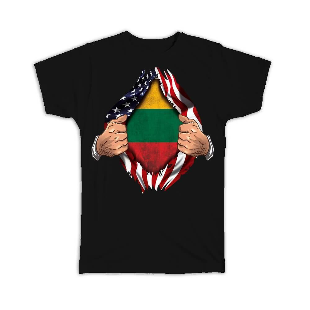 Lithuania : Gift T-Shirt Flag USA Chest American Lithuanian Expat Country