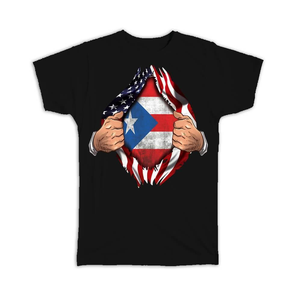 Puerto Rico : Gift T-Shirt Flag USA Chest American Puerto Rican Expat Country