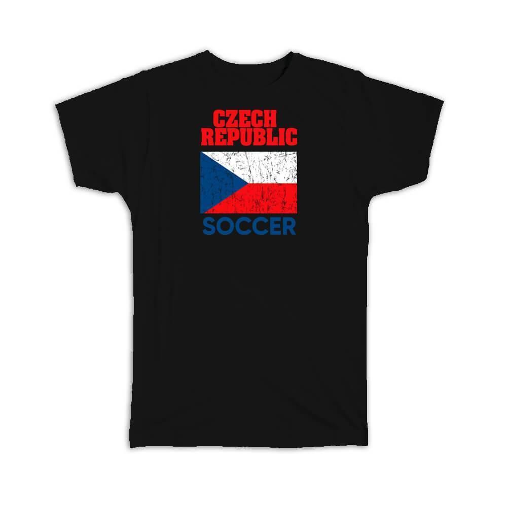 Czech Republic : Gift T-Shirt Distressed Flag Soccer Football Team Czech Country
