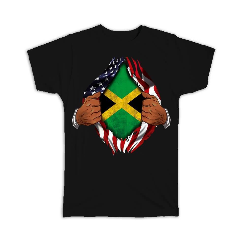 Jamaica : Gift T-Shirt Flag USA Chest American Jamaican Expat Country