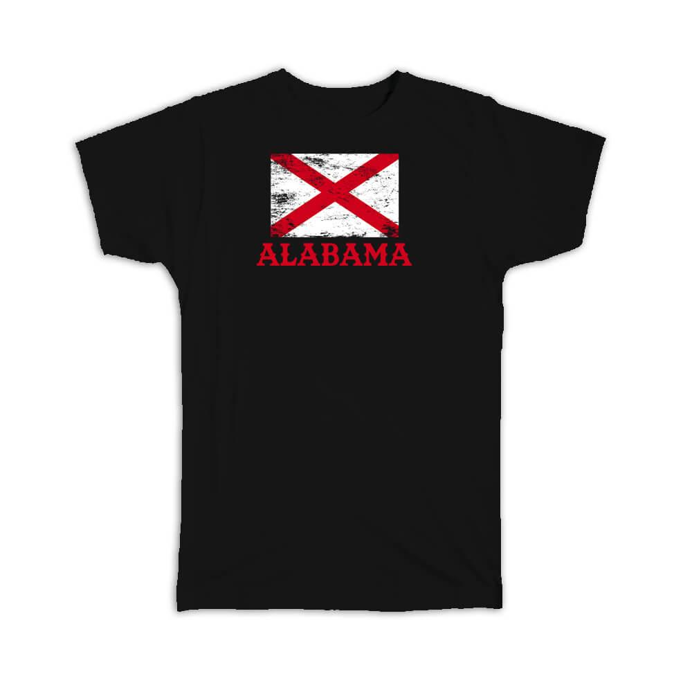 Alabama : Gift T-Shirt Flag Distressed Souvenir State USA Christmas Coworker