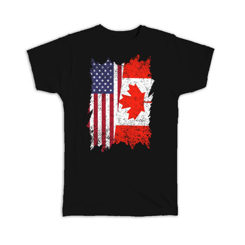 United States Canada : Gift T-Shirt American Canadian Flag Expat Mixed Country Flags