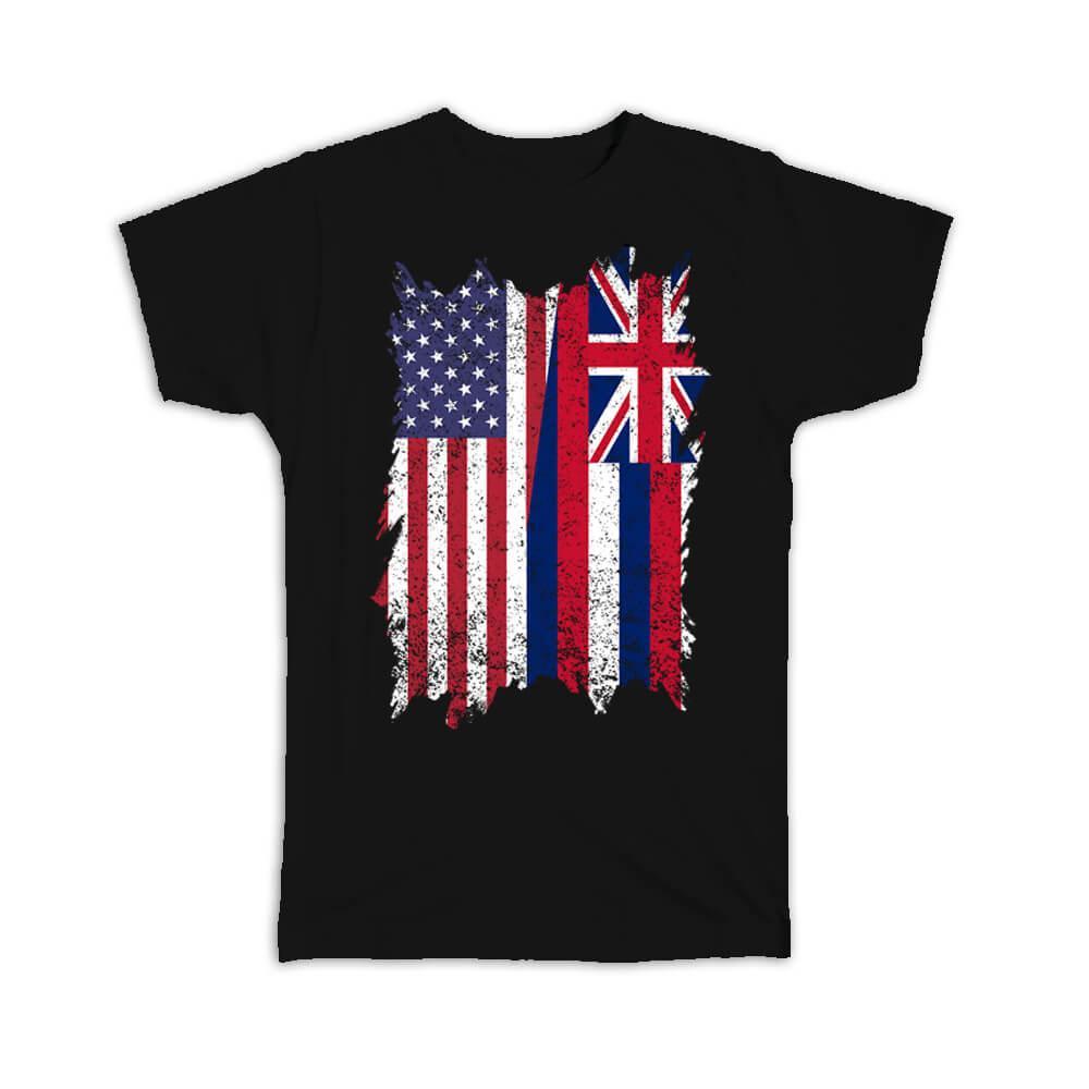 United States Hawaii : Gift T-Shirt American Hawaiian Flag Expat Mixed Country Flags