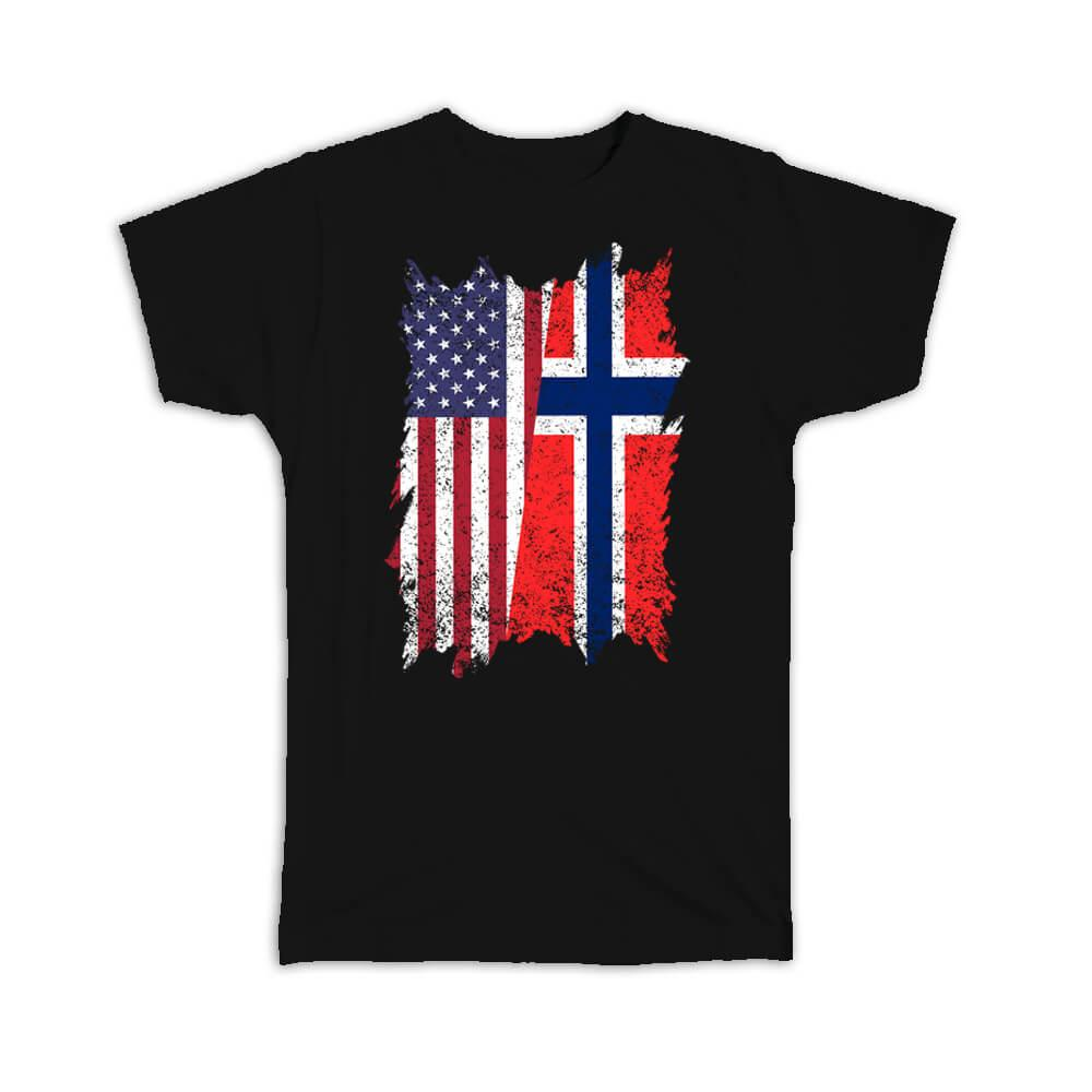 United States Norway : Gift T-Shirt American Norwegian Flag Expat Mixed Country Flags
