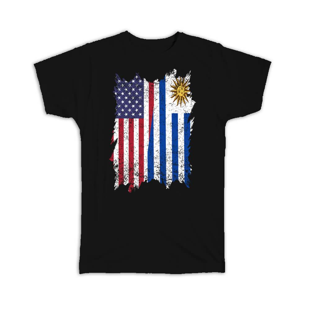 United States Uruguay : Gift T-Shirt American Uruguayan Flag Expat Mixed Country Flags