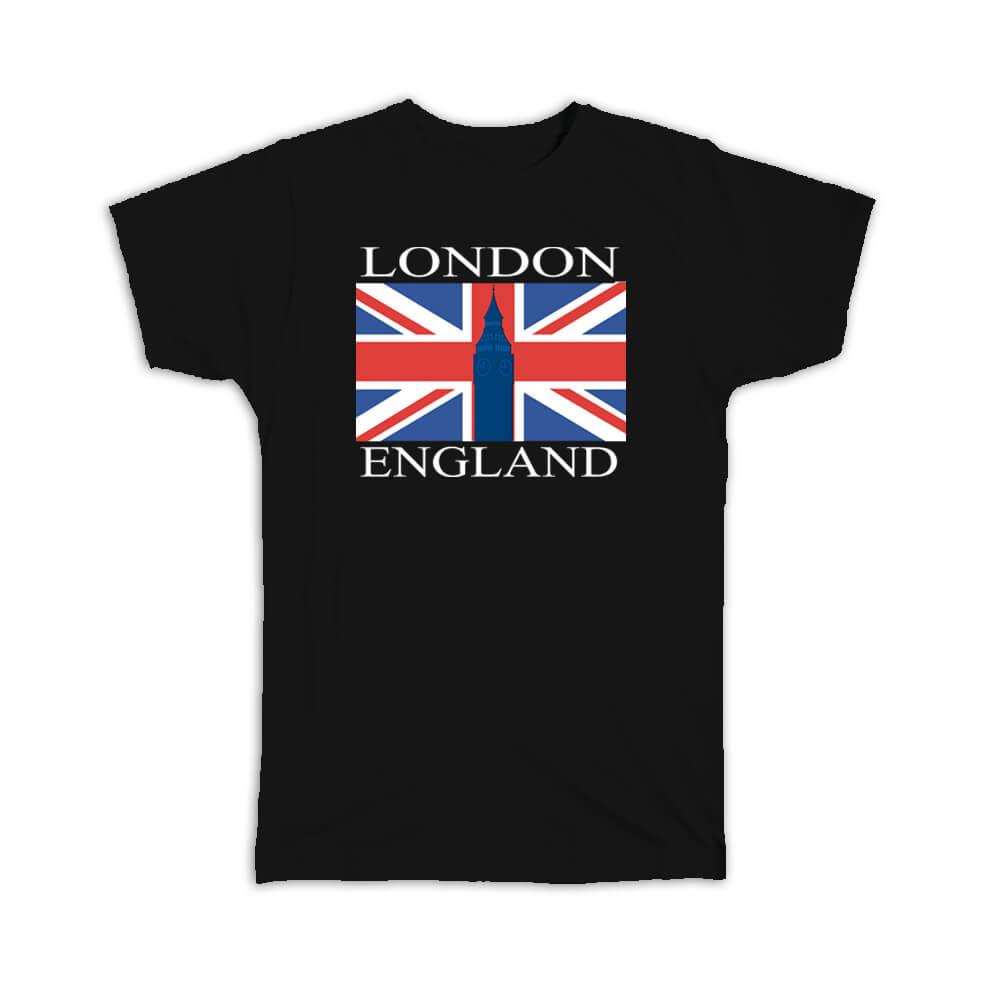 London England : Gift T-Shirt Flag Country British Big Ben Tower Bridge